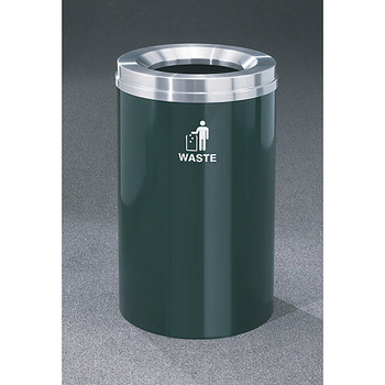 Glaro RecyclePro 1 Waste Bin - 20 x 31 - 33 Gallon - W2032 - finished in Hunter Green with a Satin Aluminum cover, Waste Label