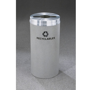 Glaro RecyclePro 1 Single Stream Recycling Bin - 15 x 31 - 16 Gallon - M1532 - finished in Granite with a Satin Aluminum cover, Recyclables Label