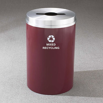 Glaro RecyclePro 1 Single Stream Recycling Bin - 20 x 31 - 33 Gallon - M2032 - finished in Burgundy with a Satin Aluminum cover,  Mixed Recycling Label