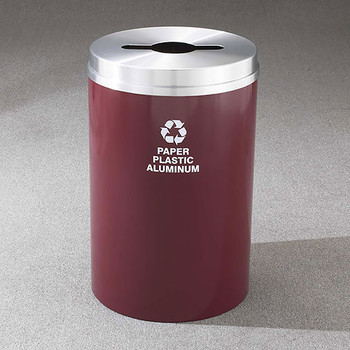 Glaro RecyclePro 1 Single Stream Recycling Bin - 20 x 31 - 33 Gallon - M2032 - finished in Burgundy with a Satin Aluminum cover, Recycling Paper Plastic and Aluminum Label
