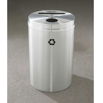 Glaro RecyclePro 2 Dual Purpose Recycling Station - 20 x 31 - 33 Gallon - PC2032SA - finished in Satin Aluminum,  Recycling Bottles & Cans and Paper Label