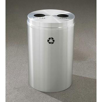 Glaro RecyclePro 2 Dual Purpose Recycling Station - 20 x 31 - 33 Gallon - BC2032SA - finished in Satin Aluminum, Opening 1 Recycling Bottles Label and Opening 2 Recycling Cans Label