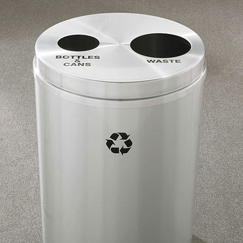 Glaro RecyclePro 2 Dual Purpose Recycling Station - 20 x 31 - 33 Gallon - BW2032SA - finished in Satin Aluminum, Recycling Bottles & Cans and Waste Label