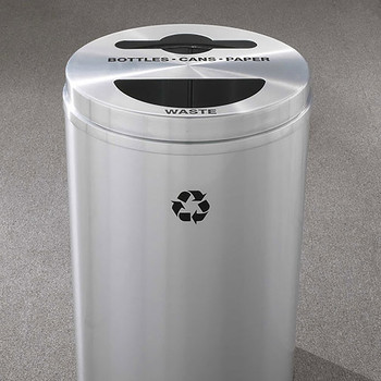 Glaro RecyclePro 2 Dual Purpose Recycling Station - 20 x 31 - 33 Gallon - MT2032SA  - finished in Satin Aluminum, Waste and Bottles, Cans, and Paper Label