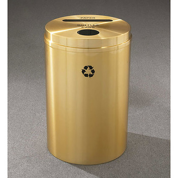 Glaro RecyclePro 2 Dual Purpose Recycling Station - 20 x 31 - 33 Gallon - PC2032BE - finished in Satin Brass, Recycling Paper and Bottles & Cans Label