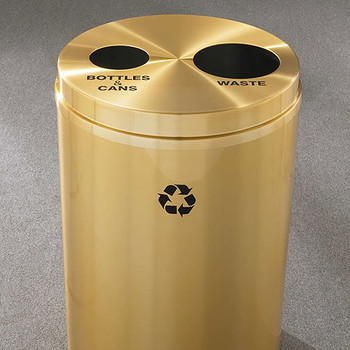 Glaro RecyclePro 2 Dual Purpose Recycling Station - 20 x 31 - 33 Gallon - BW2032BE - finished in Satin Brass, Recycling Bottles & Cans and Waste Label