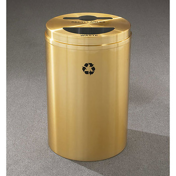 Glaro RecyclePro 2 Dual Purpose Recycling Station - 20 x 31 - 33 Gallon - MT2032BE - finished in Satin Brass, Recyclables and Waste Label