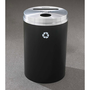 Glaro RecyclePro 2 Dual Purpose Recycling Station - 20 x 31 - 33 Gallon - PC2032 - finished in Satin Black with a Satin Aluminum cover,  Recycling Paper and Bottles & Cans Label