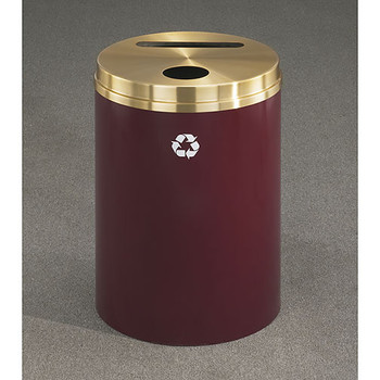 Glaro RecyclePro 2 Dual Purpose Recycling Station - 20 x 31 - 33 Gallon - PC2032 - finished in Burgundy with a Satin Brass cover