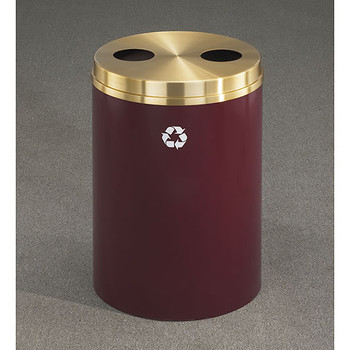 Glaro RecyclePro 2 Dual Purpose Recycling Station - 20 x 31 - 33 Gallon - BC2032 - finished in Burgundy with a Satin Brass cover