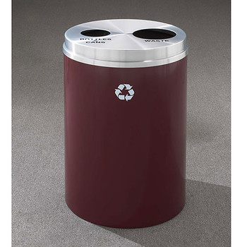 Glaro RecyclePro 2 Dual Purpose Recycling Station - 20 x 31 - 33 Gallon - BW2032 - finished in Burgundy with a Satin Aluminum cover, Recycling Bottles & Cans and Waste Label