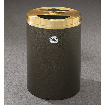 Glaro RecyclePro 2 Dual Purpose Recycling Station - 20 x 31 - 33 Gallon - MT2032 - finished in Bronze Vein with a Satin Brass cover, Recyclables and Waste Labels