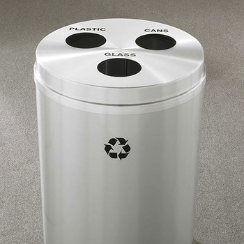 Glaro RecyclePro 3 Triple Purpose Recycling Station - 20 x 31 - 33 Gallon - BCB2032SA - finished in Satin Aluminum, Recycling Plastic, Glass, and Cans Labels