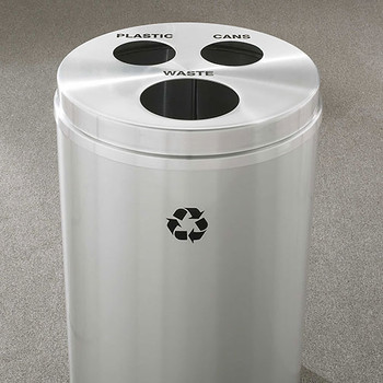 Glaro RecyclePro 3 Triple Purpose Recycling Station - 20 x 31 - 33 Gallon - BCW2032SA - finished in Satin Aluminum, Waste, Recycling Plastic and Cans Labels