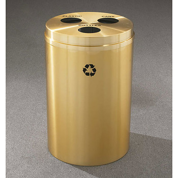 Glaro RecyclePro 3 Triple Purpose Recycling Station - 20 x 31 - 33 Gallon - BCB2032BE - finished in Satin Brass, Recycling Bottles, Plastic and Cans Labels