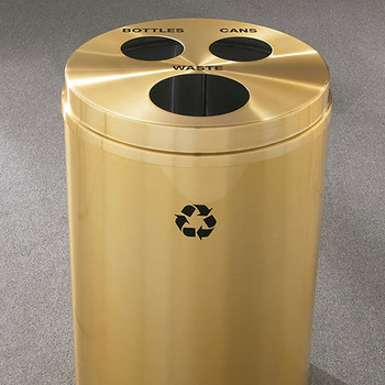 Glaro RecyclePro 3 Triple Purpose Recycling Station - 20 x 31 - 33 Gallon - BCW2032BE - finished in Satin Brass,  Waste, Recycling Bottles and Cans Labels