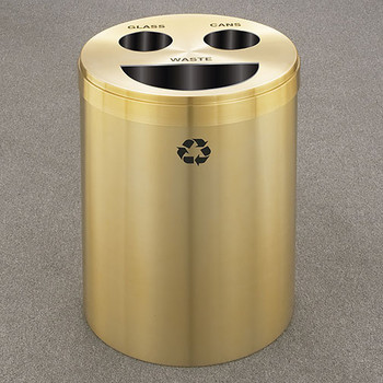 Glaro RecyclePro 3 Triple Purpose Recycling Station - 20 x 31 - 33 Gallon - BCT2032BE - finished in Satin Brass, Recycling Glass, Cans and Waste Labels