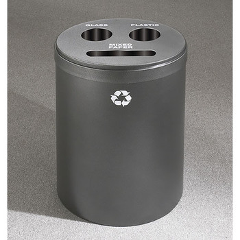 Glaro RecyclePro 3 Triple Purpose Recycling Station - 20 x 31 - 33 Gallon - BCP2032 - finished in Silver Vein,  Recycling Mixed Paper, Glass, and Plastic Label
