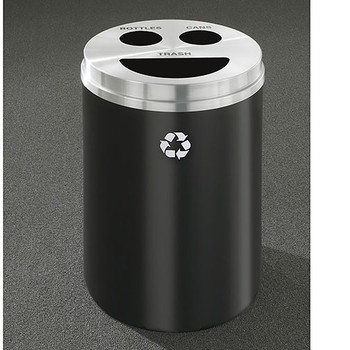 Glaro RecyclePro 3 Triple Purpose Recycling Station - 20 x 31 - 33 Gallon - BCT2032 - finished in Satin Black with a Satin Aluminum cover, Recycling Bottles, Cans and Trash Labels