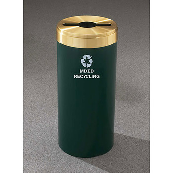 Glaro RecyclePro Value Single Stream Recycling Bin - 12 x 30 - 15 Gallon - M1242 - finished in Hunter Green with a Satin Brass cover