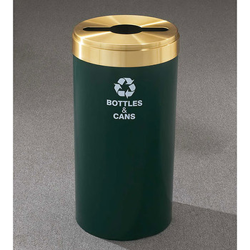 Glaro RecyclePro Value Single Stream Recycling Bin - 15 x 30 - 23 Gallon - M1542 -  finished in Hunter Green with a Satin Brass cover