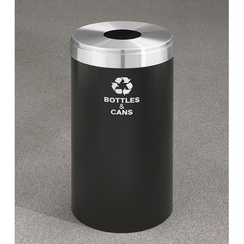 Glaro RecyclePro Value Bottle Recycling Bin - 15 x 30 - 23 Gallon - B1542 - finished in Satin Black with a Satin Aluminum cover