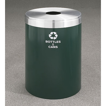 Glaro RecyclePro Value Bottle Recycling Bin - 20 x 30 - 41 Gallon - B2042 - finished in Hunter Green with a Satin Aluminum cover