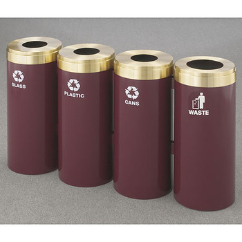 Glaro 4X RecyclePro Value Connected Recycling Station - 12 x 30 - 60 Gallon - 12424 - finished in Burgundy with Satin Brass covers
