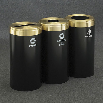 Glaro 3X RecyclePro Value Connected Recycling Station - 15 x 30 - 69 Gallon - 15423 - finished in Satin Black with Satin Brass covers