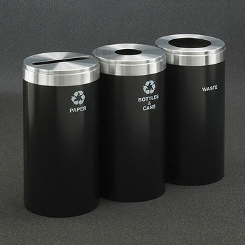 Glaro 3X RecyclePro Value Connected Recycling Station - 15 x 30 - 69 Gallon - 15423 - finished in Satin Black with Satin Aluminum covers