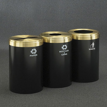 Glaro 3X RecyclePro Value Connected Recycling Station - 20 x 30 - 123 Gallon - 20423 - finished in Satin Black with Satin Brass covers