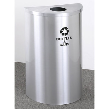 Glaro RecyclePro Profile Half Round Recycling Bin - 18 x 30 x 9 - 14 Gallon - B1899SA