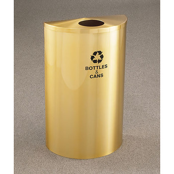 Glaro RecyclePro Profile Half Round Recycling Bin - 18 x 30 x 9 - 14 Gallon - B1899BE