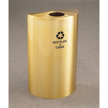 Glaro RecyclePro Profile Half Round Recycling Bin - 18 x 30 x 9 - 14 Gallon - B1899BE