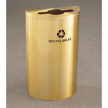 Glaro RecyclePro Profile Half Round Recycling Bin - 18 x 30 x 9 - 14 Gallon - M1899BE