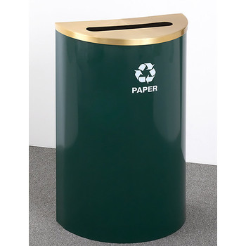 Glaro RecyclePro Profile Half Round Recycling Bin - 18 x 30 x 9 - 14 Gallon - P1899 - finished in Hunter Green with a Satin Brass top