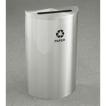 Glaro RecyclePro Profile Half Round Recycling Bin - 18 x 30 x 9 - 14 Gallon - P1899SA