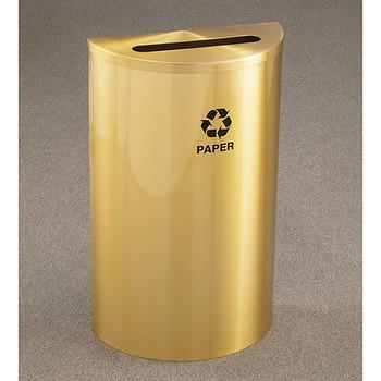Glaro RecyclePro Profile Half Round Recycling Bin - 18 x 30 x 9 - 14 Gallon - P1899BE