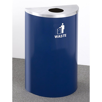 Glaro RecyclePro Profile Half Round Waste Bin - 18 x 30 x 9 - 14 Gallon - W1899 - finished in Blue Powder with a Satin Aluminum top