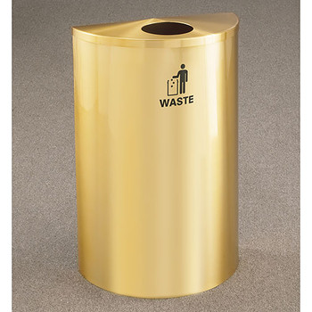 Glaro RecyclePro Profile Half Round Waste Bin - 18 x 30 x 9 - 14 Gallon - W1899BE