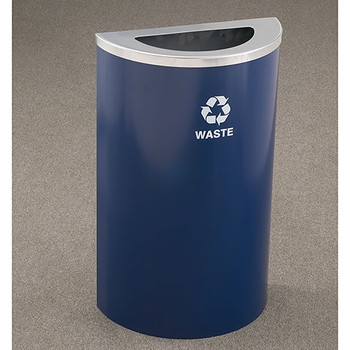 Glaro RecyclePro Profile Half Round Waste Bin - 18 x 30 x 9 - 14 Gallon - T1899  - finished in Blue Powder with a Satin Aluminum top