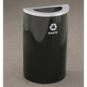 Glaro RecyclePro Profile Half Round Waste Bin - 18 x 30 x 9 - 14 Gallon - T1899  - finished in Satin Black with a Satin Aluminum top