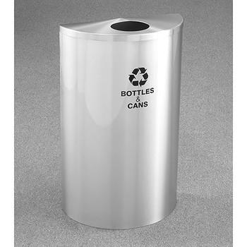 Glaro RecyclePro Profile Half Round Recycling Bin - 18 x 30 x 9 - 16 Gallon - B1899SA