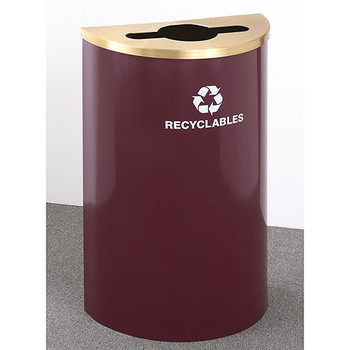 Glaro RecyclePro Profile Half Round Recycling Bin - 18 x 30 x 9 - 16 Gallon - M1899 - finished in Burgundy with a Satin Brass top