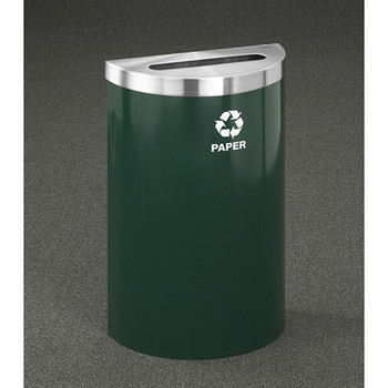 Glaro RecyclePro Profile Value Half Round Recycling Bin - 18 x 30 x 9 - 16 Gallon - P1899V  - finished in Hunter Green with a Satin Aluminum top