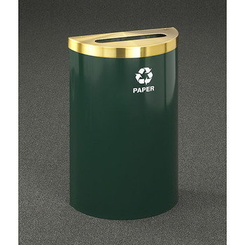 Glaro RecyclePro Profile Value Half Round Recycling Bin - 18 x 30 x 9 - 16 Gallon - P1899V - finished in Hunter Green with a Satin Brass top