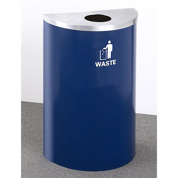 Glaro RecyclePro Profile Half Round Waste Bin - 18 x 30 x 9 - 14 Gallon - W1899  - finished in Midnight Blue with a Satin Aluminum top