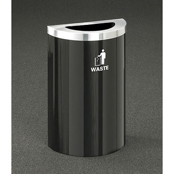 Glaro RecyclePro Profile Value Half Round Waste Bin - 18 x 30 x 9 - 16 Gallon - T1899V - finished in Satin Black with a Satin Aluminum top