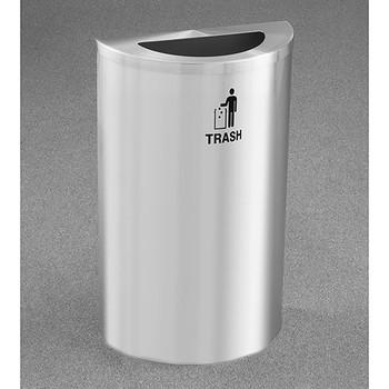 Glaro RecyclePro Profile Half Round Waste Bin - 18 x 30 x 9 - 14 Gallon - T1899SA
