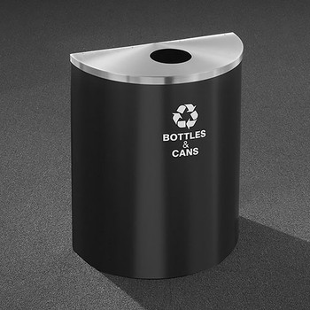 Glaro RecyclePro Profile Half Round Recycling Bin - 28-1/2 x 24 x 12 - 29 Gallon - B2499 - finished in Satin Black with a Satin Aluminum top